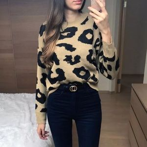 Sweaters - Leopard Animal Print Knit Sweater